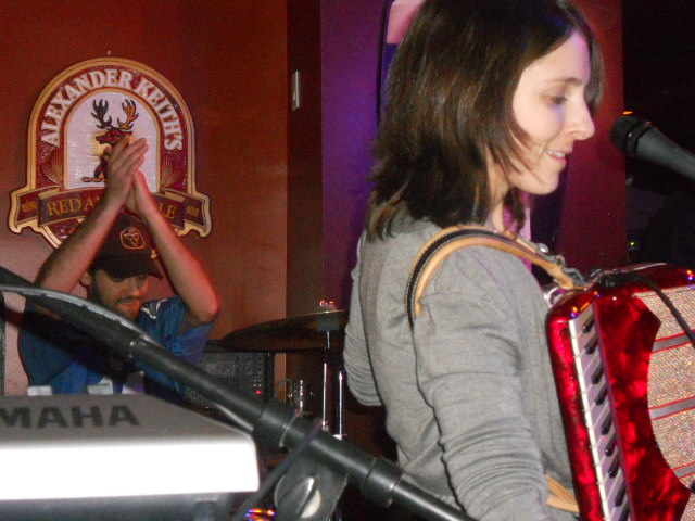 Drummer Joe McLean and singer Judy Morris of Les Skidoos Jaune during their cover of Arcade Fire's Rebellion (Lies)
