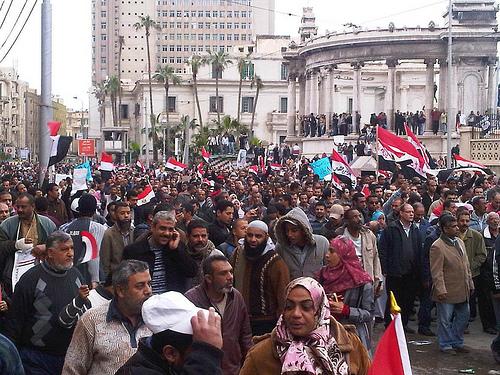 Egyptians protest the Mubarak regime in Alexandria