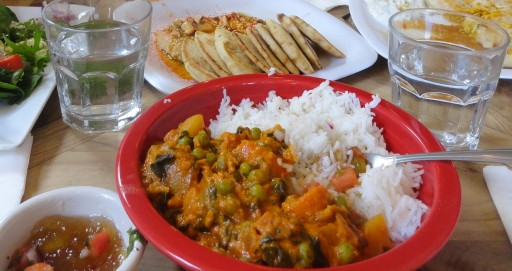 Vegetable Curry with Basmati Rice and Mango Chutney