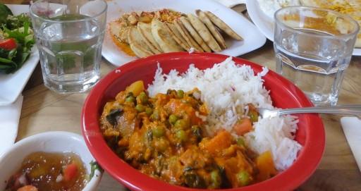 Vegetable Curry with Basmati Rice and Mango Chutney