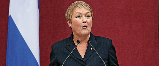 Quebec's Premier Pauline Marois speaks after being sworn-in at the National Assembly in Quebec City
