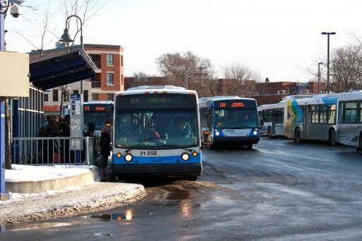 STM busses at Côte-Vertu metro, a major transporation hub in the Norman-McLaren district