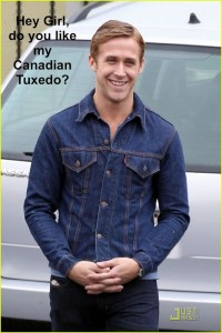 "**EXCLUSIVE** Ryan Gosling, wearing a denim jacket and skinny jeans, hangs out on the set of his upcoming movie ""Drive"""