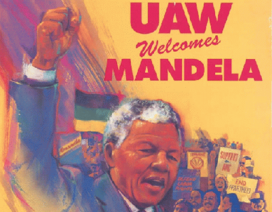 United Auto Workers poster welcoming Nelson Mandela to Ford's Dearborn, Michigan, plant in 1990. (Courtesy: Digital Innovation South Africa.)