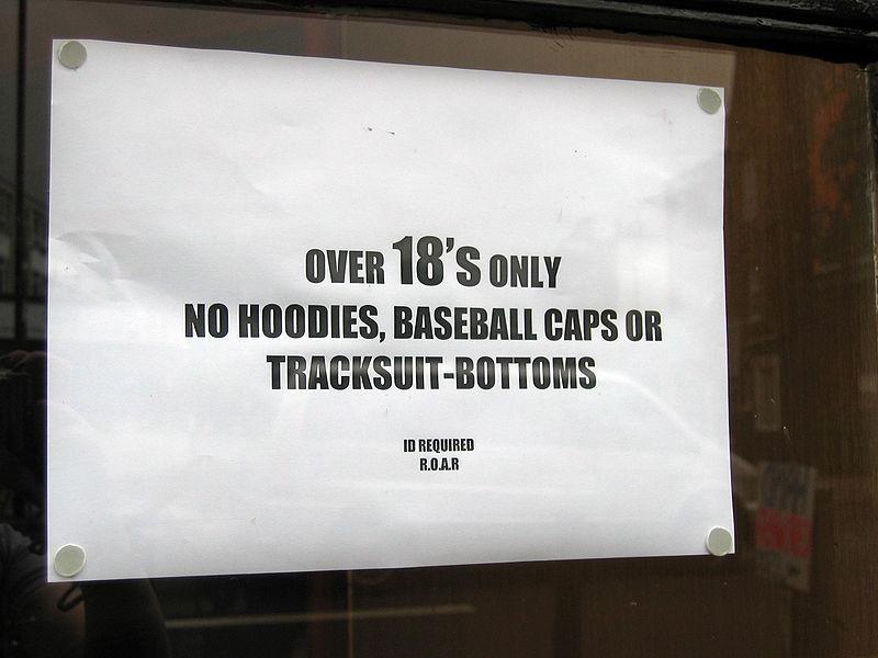 no hoodies sign