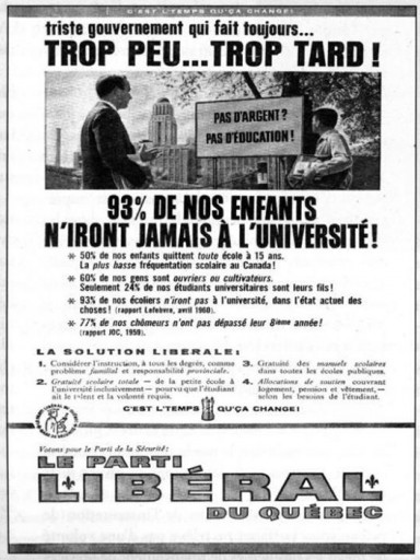 quebec liberal party free education ad 1960