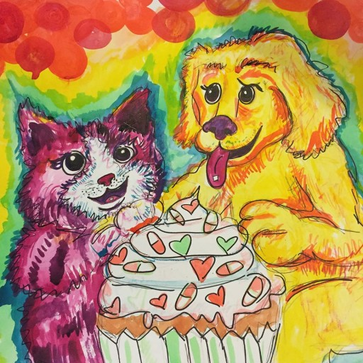 A painting I did of Lisa Frank on acid.