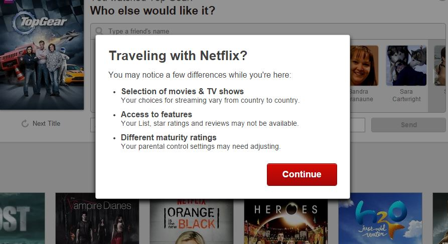 Travelling with netflix