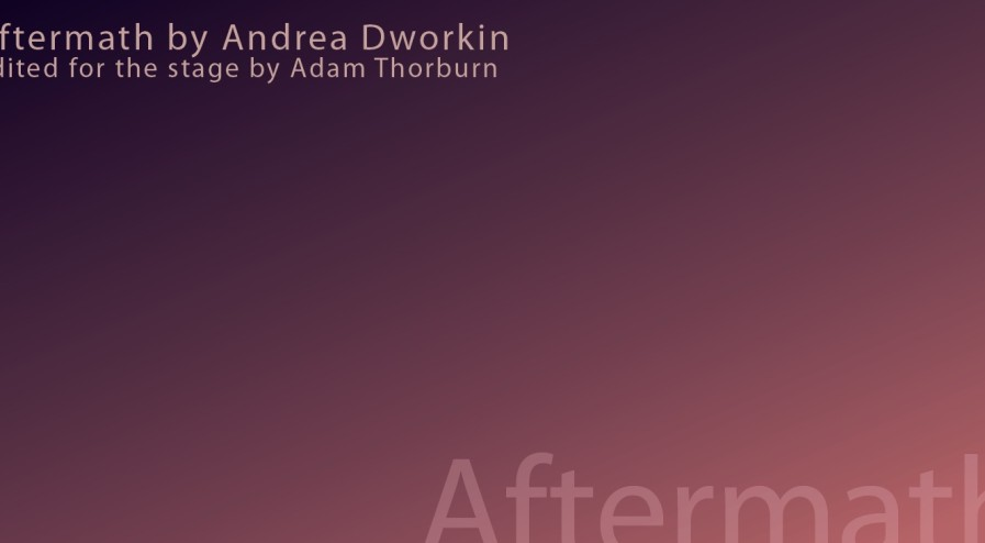 Aftermath. by Andrea Dworkin. presented by Waterworks Theatre, Montreal.