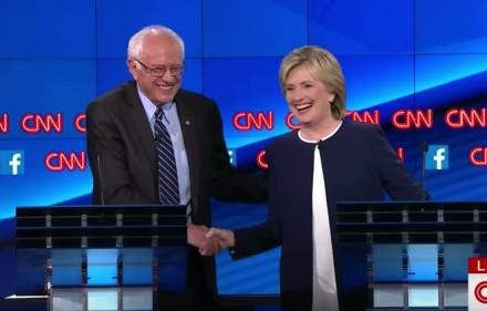 sanders clinton handshake debate