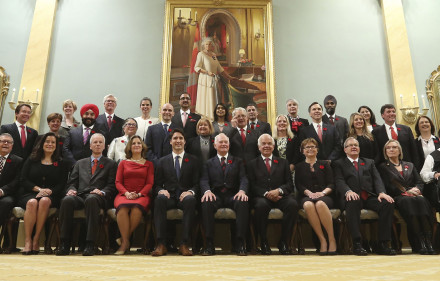 Canada's new Prime Minister Justin Trudeau poses with his cabinet after their swearing-in ceremony at Rideau Hall in Ottawa
