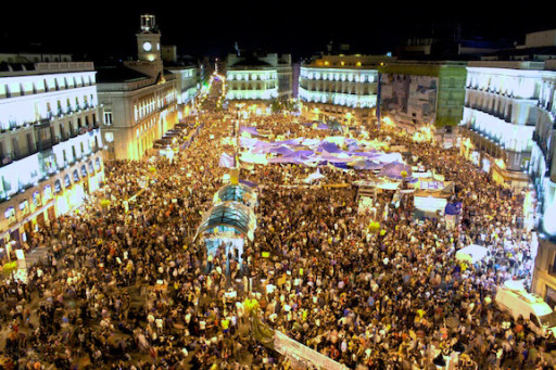 Puerta del Sol in Madrid during the 2011 Spanish protests (image by fotograccion via WikiMedia Commons)
