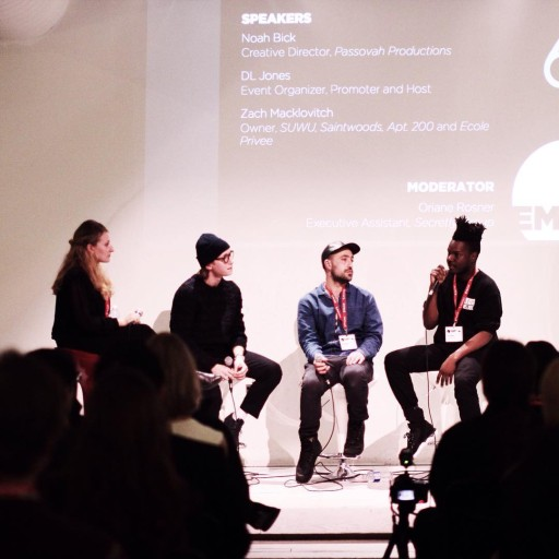 The EMC NIghtlife Panel (l-r) moderator Moderator Oriane Rosner, Noah Bick Creative Director of Passovah Productions, club owner Zach Macklovitch and nightlife promoter DL Jones (photo via EMC on Instagram)