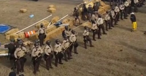 Line of riot cops at Standing Rock (Screenshot: Atsa E'sha Hoferer/Facebook)