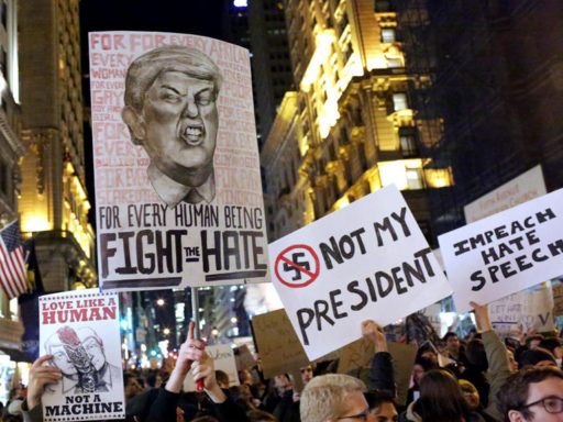 Anti-Trump Protest NYC (image CBS)